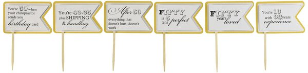 Gold Matte 50th Birthday Quotes Cupcake Toppers