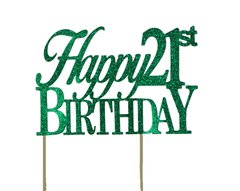Green Happy 21st Birthday Cake Topper