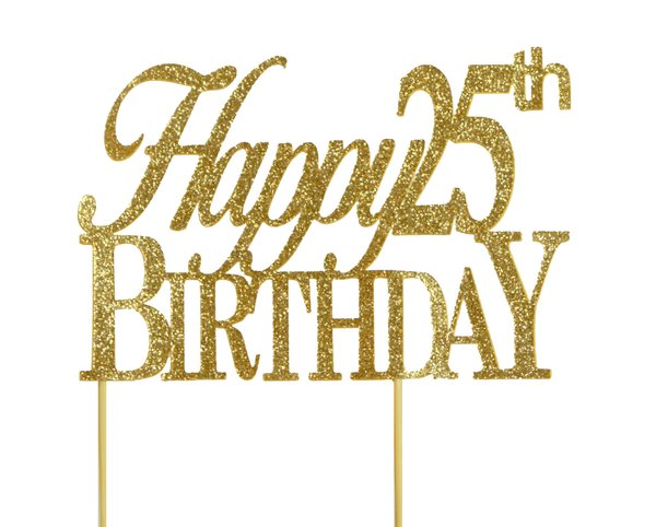 Gold Happy 25th Birthday Cake Topper