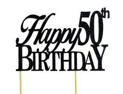 Black Happy 50th Birthday Cake Topper