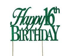 Green Happy 16th Birthday Cake Topper