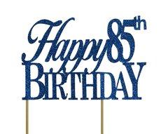 Blue Happy 85th Birthday Cake Topper