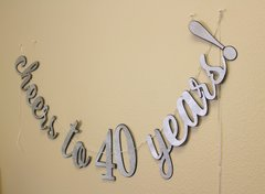 Black & Silver Cheers to 40 Years! Cursive Banner