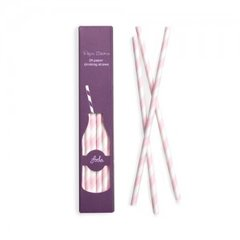 Stripes Paper Straws Marshmallow Pink 24pc