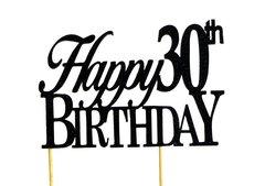 Black Happy 30th Birthday Cake Topper