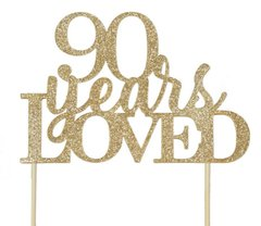 Gold 90 Years Loved Cake Topper