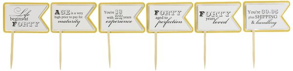 Gold Matte 40th Birthday Quotes Cupcake Toppers