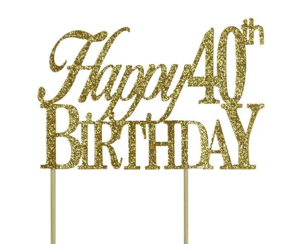 Gold Happy 40th Birthday Cake Topper