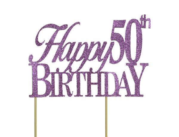 Purple Happy 50th Birthday Cake Topper