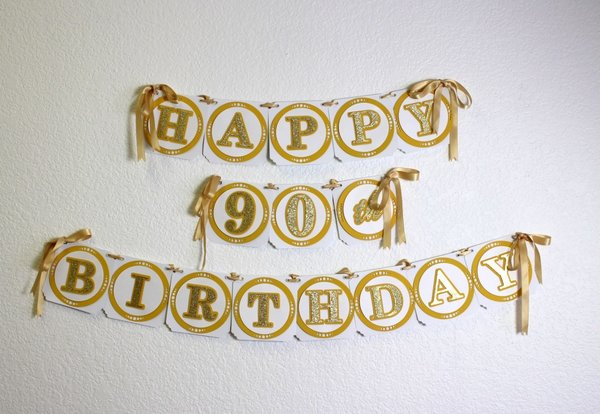 Finest Gold Happy 90th Birthday Banner | All About Details RT92