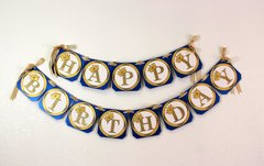 Royal Blue & Gold Prince Theme Happy Birthday Banner
