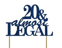 Blue 20 & Almost Legal Cake Topper