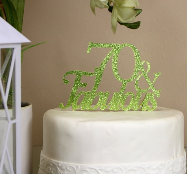 All About Details Lime Green 70 Fabulous Cake Topper All About