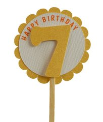Shimmer Gold 7th Birthday Cupcake Toppers