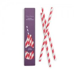 Stripes Paper Straws Candy Cane Red 24pc