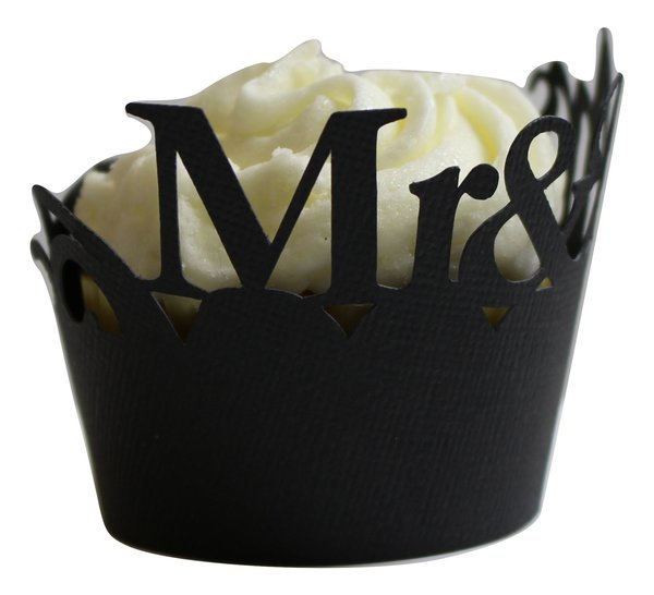 Black Mr & Mrs Cupcake Wrappers