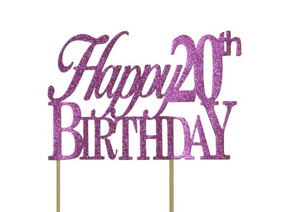 Pink Happy 20th Birthday Cake Topper