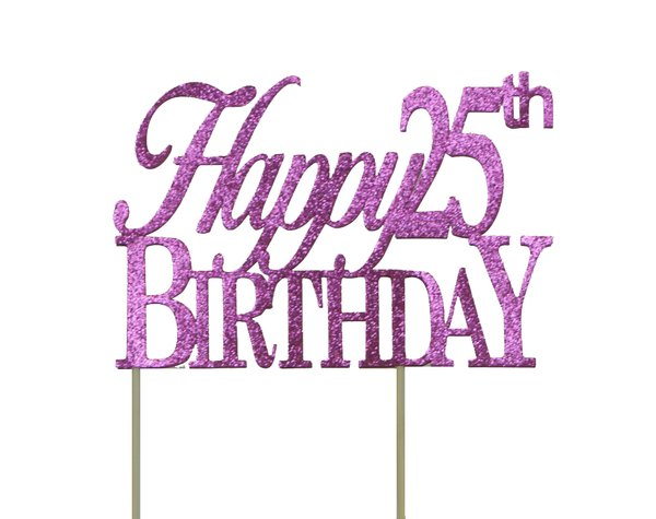 Pink Happy 25th Birthday Cake Topper