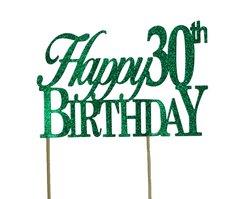 Green Happy 30th Birthday Cake Topper