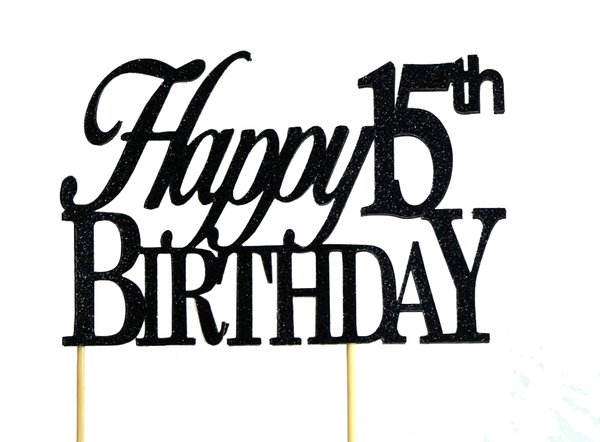 Black Happy 15th Birthday Cake Topper
