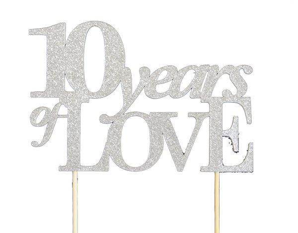 Silver 10 Years of Love Cake Topper