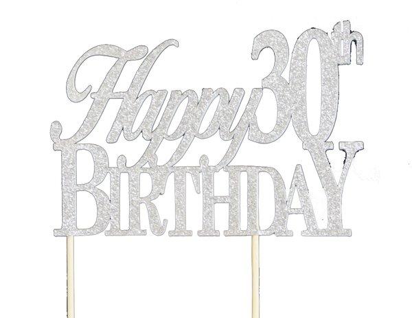 Silver Happy 30th Birthday Cake Topper