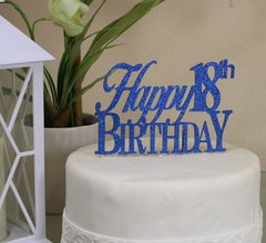 Blue Happy 18th Birthday Cake Topper