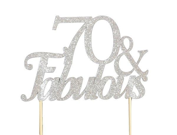 Silver 70 & Fabulous Cake Topper