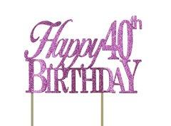 Pink Happy 40th Birthday Cake Topper