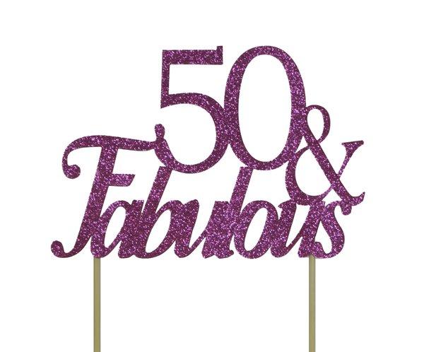 Pink 50 & Fabulous Cake Topper