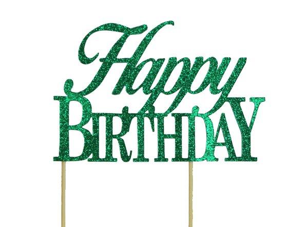 Green Happy Birthday Cake Topper