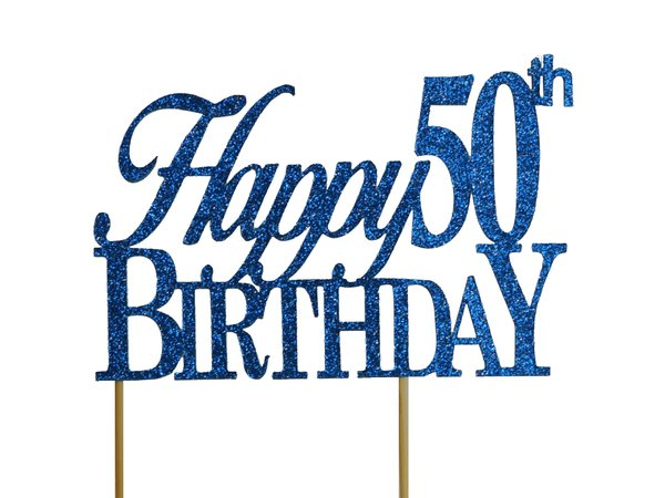 Blue Happy 50th Birthday Cake Topper