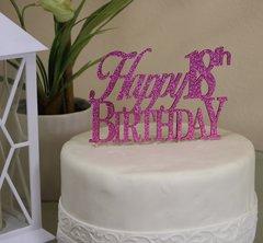 Pink Happy 18th Birthday Cake Topper