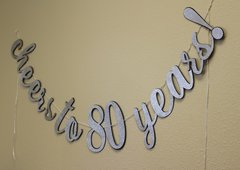 Black & Silver Cheers to 80 Years! Cursive Banner