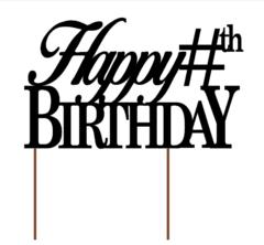 Custom Cake Topper: Happy Birthday with Age