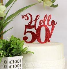 Red Hello 50! Cake Topper, 1 pc