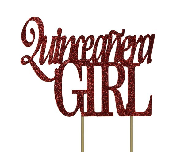 Red Quinceanera Girl Cake Topper