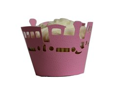 Bubblegum Pink Trains Cupcake Wrappers