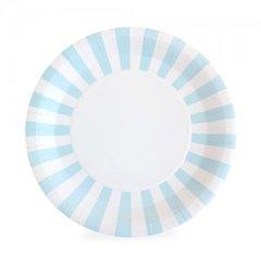 Stripes Paper Plates Powder Blue 12pc