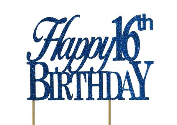 Blue Happy 16th Birthday Cake Topper