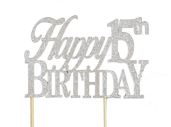 Silver Happy 15th Birthday Cake Topper