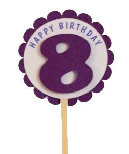 Shimmer Purple 8th Birthday Cupcake Toppers