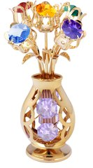 5 Flowers in Vase Free Standing w/Mixed Swarovski Element Crystal