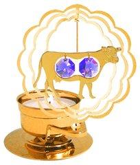 Gold Plated Cow T-Lite w/Swarovski Element Crystal