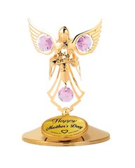 Happy Mother's Day - Angel with Flowers on Stand w/Pink Swarovski Element Crystals
