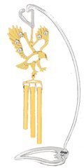 "Swarovski Element Crystal Eagle Mini Wind Chime with 6"" (H) Heart Stand"