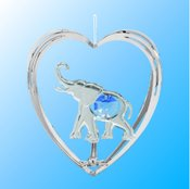 Chrome Plated Elephant in Heart Ornament w/Blue Swarovski Element Crystal