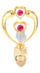 Gold Plated Heart in Heart Night Light w/Red Swarovski Element Crystals
