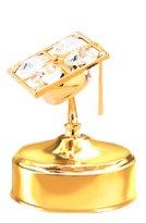 Gold Plated Graduation Cap Music Box w/Swarovski Element Crystal