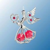 Chrome Plated Angel w/Heart Ornament w/Swarovski Element Crystal